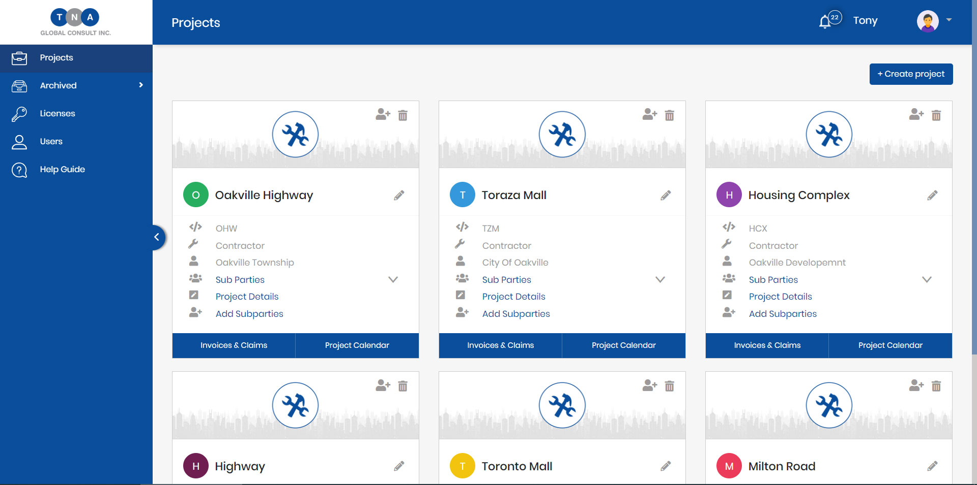 PPA Tracker Software - Create Projects